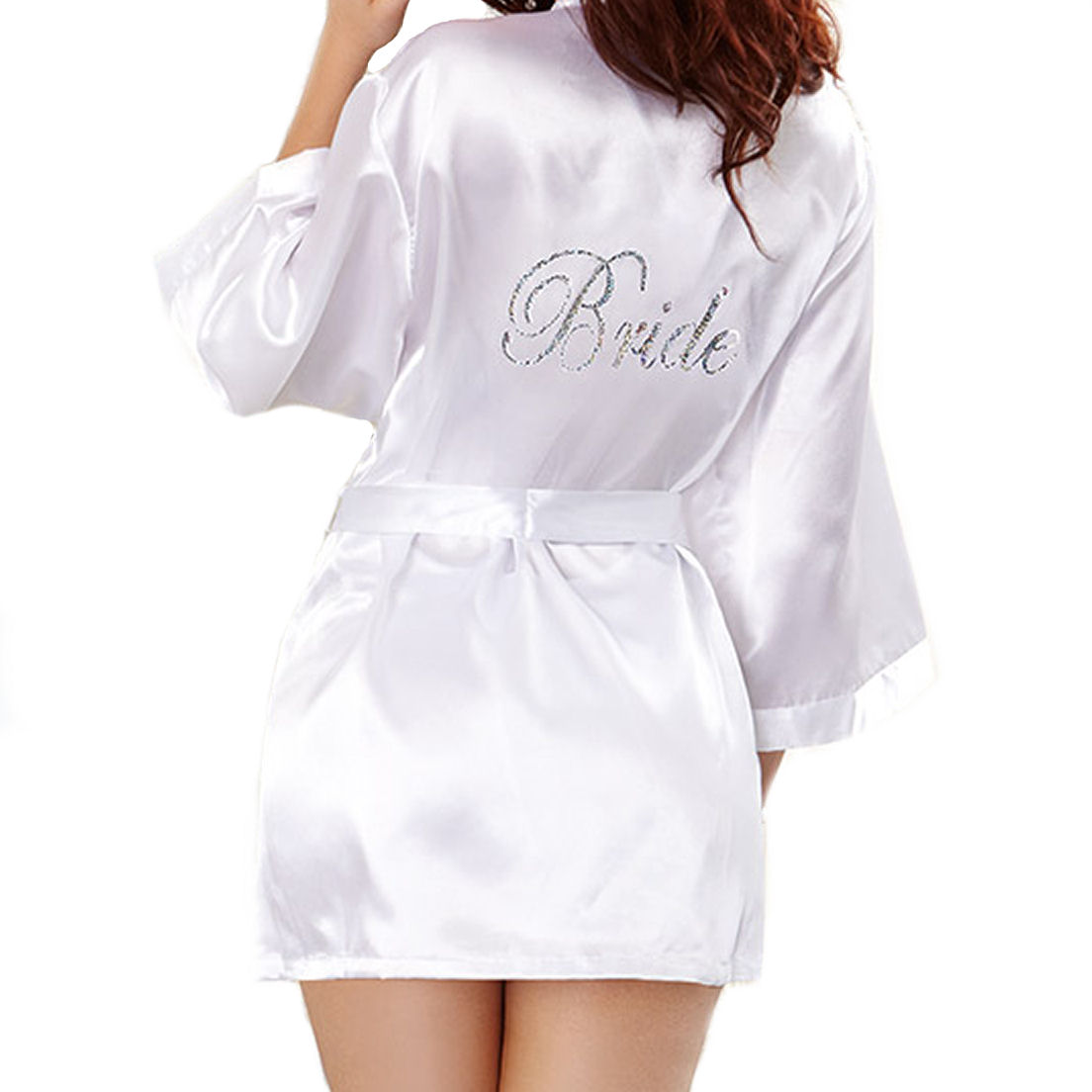 Dreamgirl Bride Robe Chemise Set Silk Elegance Lingerie Swimwear Bridal Sleepwear