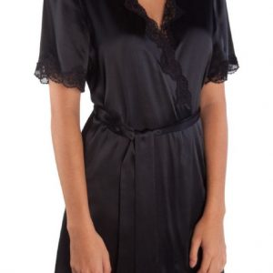 Silk & Lace Wrap -Black